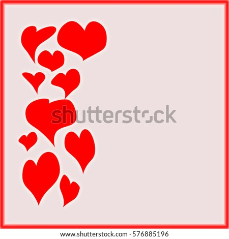 Valentines Day Background Red Hearts Different Stock Illustration