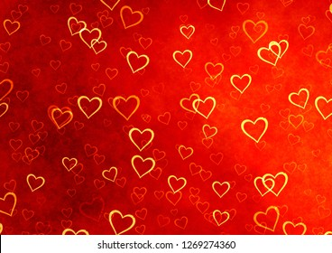 Valentine's day background with red and orange hearts illustration