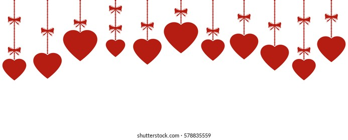 Valentines Day Panoramic Header Cute Hanging Stock Vector Royalty