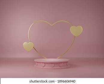 Valentine's day banner with heart background. 3D rendering.