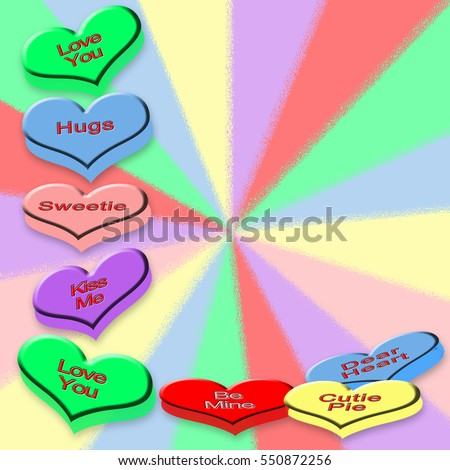 Valentines Day Candy Hearts Abstract Matching Stock Illustration