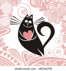 Valentines day card cat with heart romantic pattern background illustration