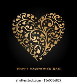 Valentine's day card with gold ornate heart. Love romantic banner. February 14. 3d greeting poster