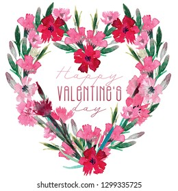 Valentine's day card. Hand drawn watercolor image for postcards, Instagram posts and personal messages. Wild flowers are painted with watercolors.