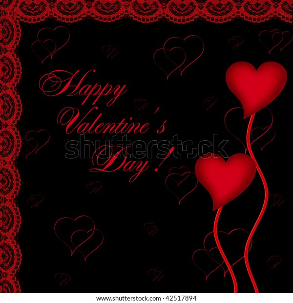 Valentines day card with hearts on the abstract black background