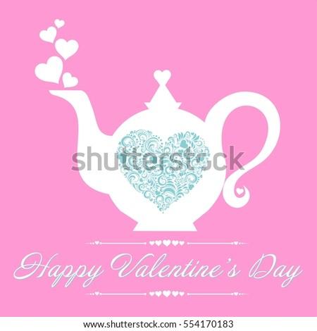 Valentines Day Card Menu Restaurant Cafe Stock Illustration