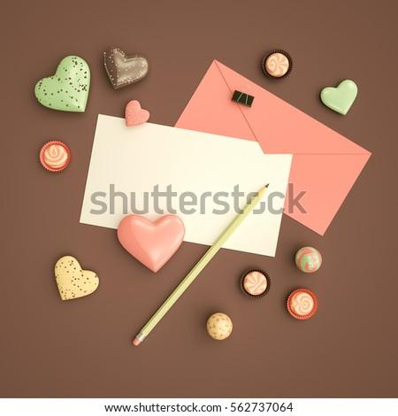 Valentines Day Card Mockup Envelope Pencil Stock Illustration