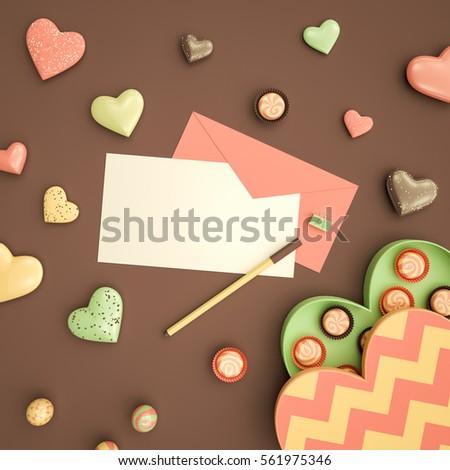 Valentines Day Card Mockup Pink Envelope Stock Illustration