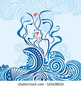 Valentines day card pair love hearts wave sea illustration