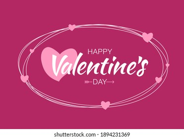 Valentines Day card. Scribble lines oval with hand drawn typographic lettering isolated on bright purple background with pink hearts. Valentine banner.