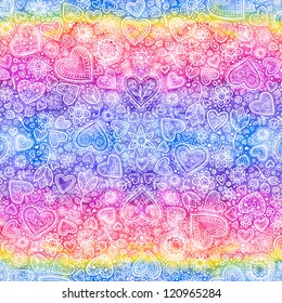 Valentine's day colorful hearts watercolor seamless background