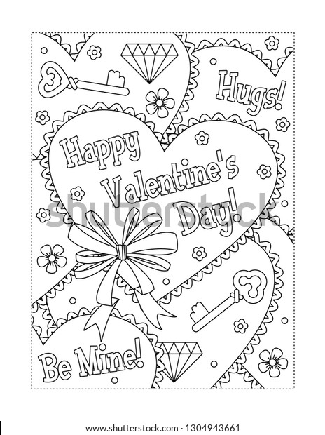 - Valentines Day Coloring Page Children Adults Stock Illustration 1304943661