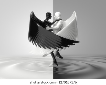 valentines day concept with angelic characters on liquid floor. suitable for technology, religion, psychology, esoteric and valentines day themes. 3d illustration