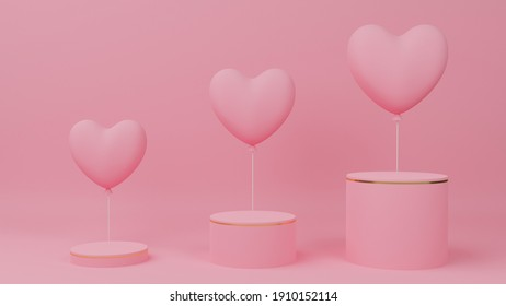 Valentine's day concept. Circle podium pink pastel color with gold edge, three rank and pink heart balloon. 3D Rendering illustration.
