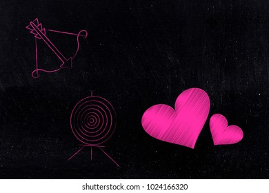 valentine's day conceptual illustration: lovehearts with bow and arrow and target next to them