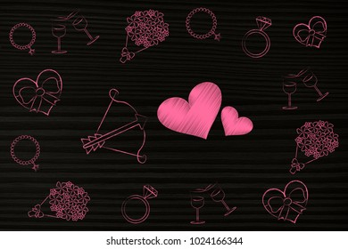 valentine's day conceptual illustration: lovehearts with bow and arrow surrounded by presents