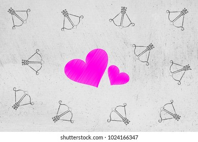 valentine's day conceptual illustration: lovehearts surrounded by cupid's bow and arrow