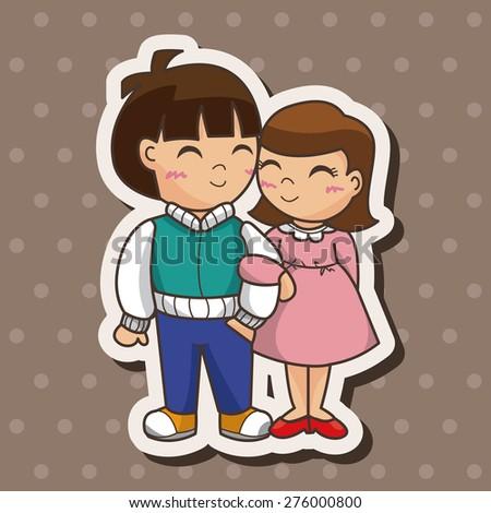 Valentines Day Couple Cartoon Sticker Icon Stock Illustration