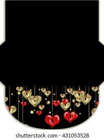 Valentines day design envelope, cut envelope template