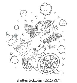 Valentine's day. Funny Cupid-girl riding on a cannon firing hearts. Raster illustration isolated on white. Coloring page