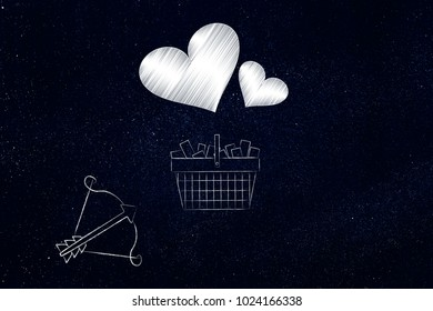 valentine's day gifts ideas conceptual illustration: shopping cart full of items with lovehearts above it and bow and arrow pointing at it