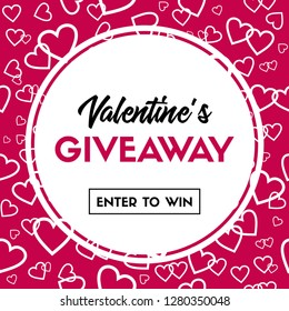 Valentines Day giveaway card. Enter to win. Banner template for online holiday contest. Raster version