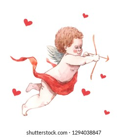 Valentine's Day greeting card. Illustration of a cute retro angel cupid with heart