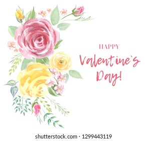 Valentine's Day greeting card. Inscription and Handmade floral. Love and flowers painting abstract design. Watercolor illustration.