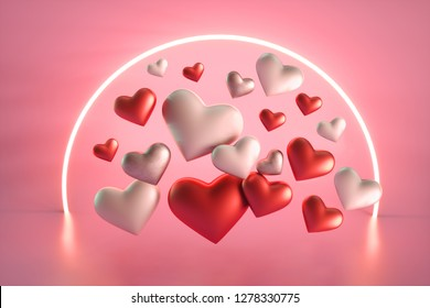 Valentines Day heart floating pink background with neon decoration.3d rendering.
