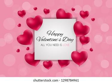 Valentine's Day Heart  Love and Feelings Background Design.  illustration