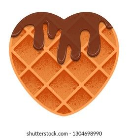 Valentines Day. Heart shaped waffles with chocolate sauce