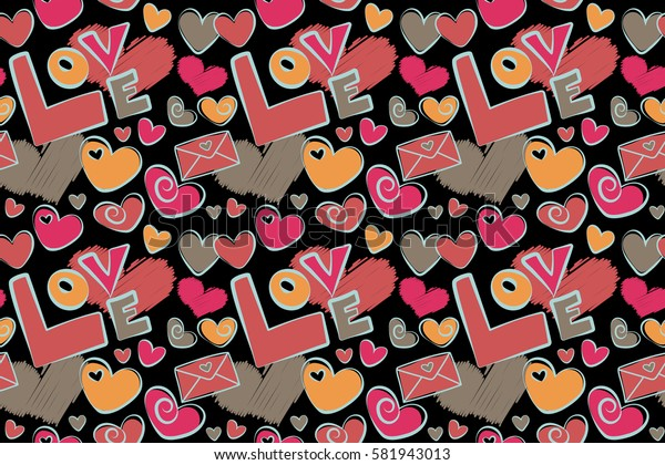 Valentines day hearts, love text, love letter. Hand drawn texture in orange and pink colors on black background. Raster seamless pattern.