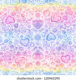 Valentine's day hearts watercolor rainbow seamless background