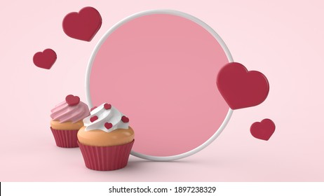Valentines day, International Women's Day and wedding invitation template. Dessert cupcakes with red hearts.  3d illustration