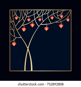 Valentine's day invitation with tree and hearts and space for text. Raster version.