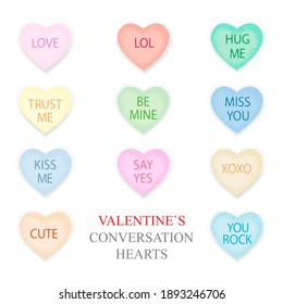 Valentines Day lettering decor. Hearts set, clip art, art tools, stickers, funny  heart candy, t shirt design. Valentines conversation hearts on white.