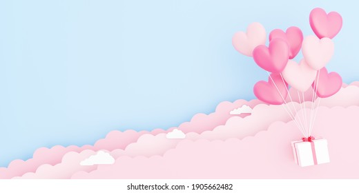 Valentine's day, love concept background, 3D illustration of pink heart shaped balloons bouquet with gift box floating in the sky with paper cloud with blank space