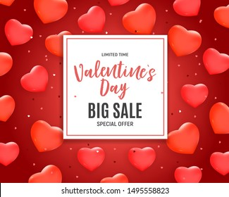 Valentine's Day Love and Feelings Sale Background Design.  illustration