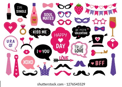 Valentine's Day photo booth props set.  Love lettering,  heart,  hat, kiss, glasses, garland and other elements for selfie. Photobooth template to cut. Concept with stickers for party.