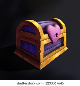 Valentines Day Presents Fantasy Chest with Heart Lock CG Art Digital Painting Props Design Raster Illustration
