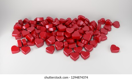 valentine's day red hearts love romantic backgound 3D illustration