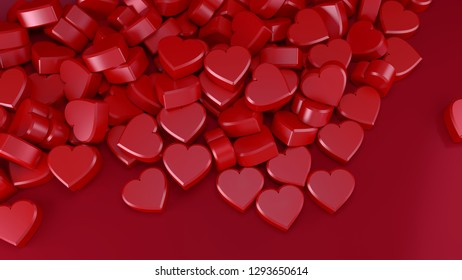 valentine's day red little hearts romantic 3D illustration