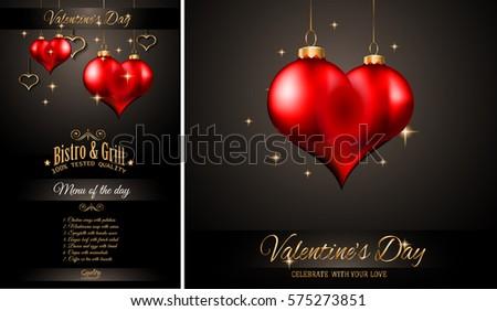 Valentines Day Restaurant Menu Template Background Stockillustration