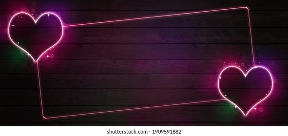valentines day of retrowave neon love wide banner with multicolr heart bright shape on dark wood pattern