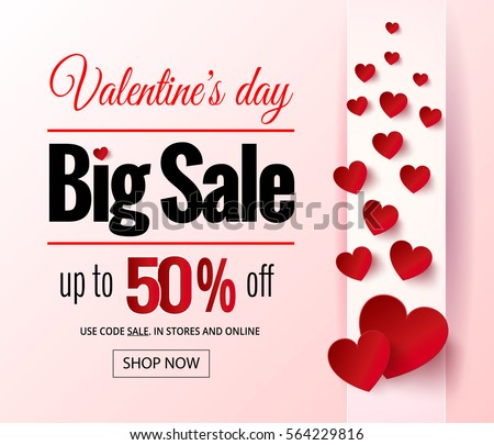 Valentines Day Sale Flayers Online Shopping Stock Illustration