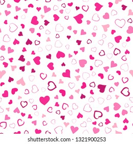 Valentines Day seamless pattern design. Pink hand drawn hearts on white background. Love concept. Template for business card, website, print etc.