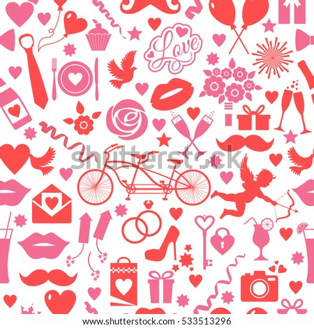 Valentines Day Seamless Pattern Love Symbols Stock Illustration