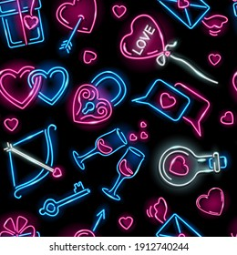 Valentine's Day seamless pattern with neon icons of loving hearts, gift box, Cupid bow, lock, flying envelop, love elixire on black background. Holiday, wedding, romance concept. Illustration.