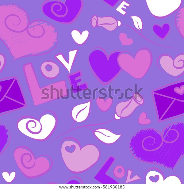 Valentines day sketch on a violet background. Abstract doodle hearts, rose flower, love letter and love text seamless pattern.
