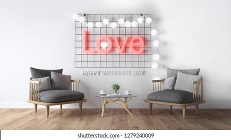 Tema del día de San Valentín con texto claro en la pared. Representación 3d